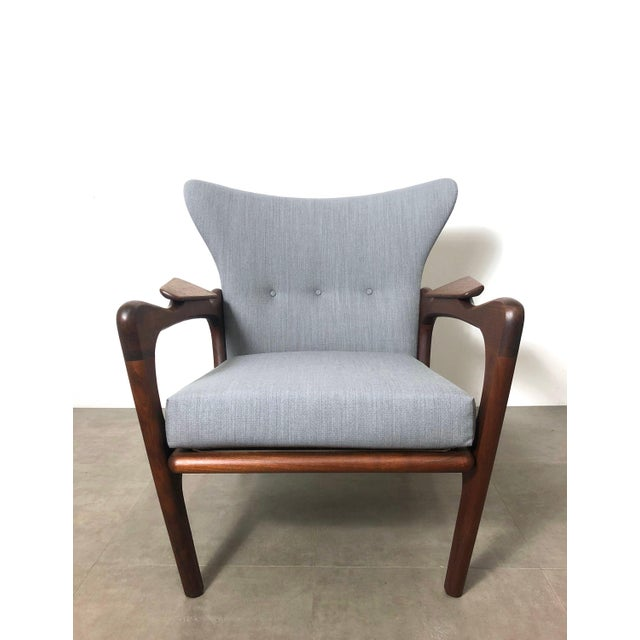 1960s Pair Adrian Pearsall for Craft Associates Wingback Lounge Chairs For Sale In Detroit - Image 6 of 10
