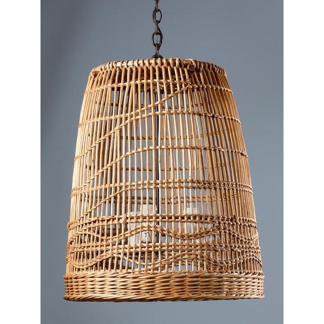 Tan Vintage French Basket Chandelier Light Fixture Circa 1920 For Sale - Image 8 of 13