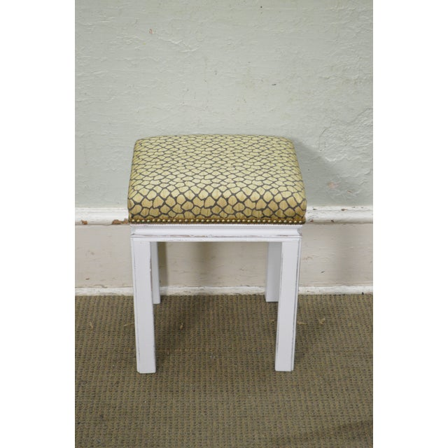 Mid Century Pair of Custom Painted Square Stools Benches For Sale In Philadelphia - Image 6 of 11