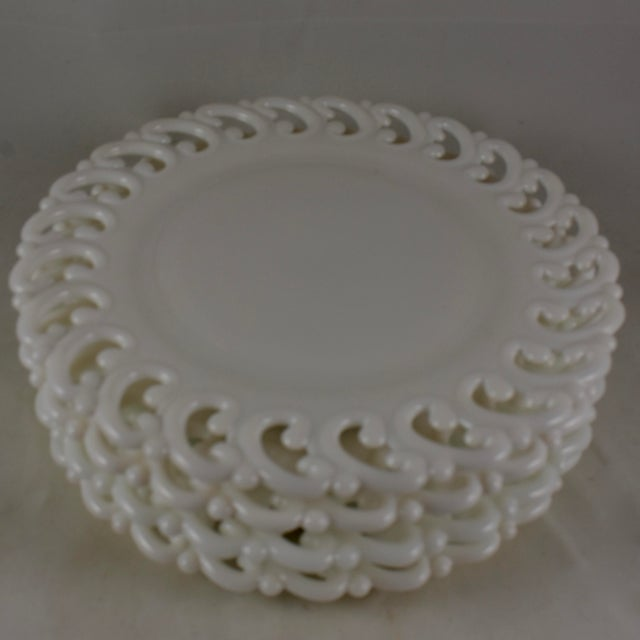 Glass 19th C. Eapg Lace Edge Milk Glass Dinner Plates, S/4 For Sale - Image 7 of 8
