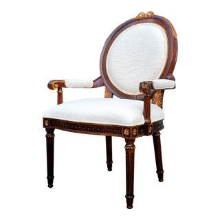 Henredon Furniture Arabesque Golden Patina Mahogany Round Back Dining Arm Chair For Sale