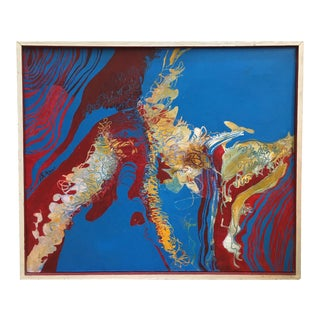 Vintage Mid Century Abstract Oil Painting 1940's For Sale
