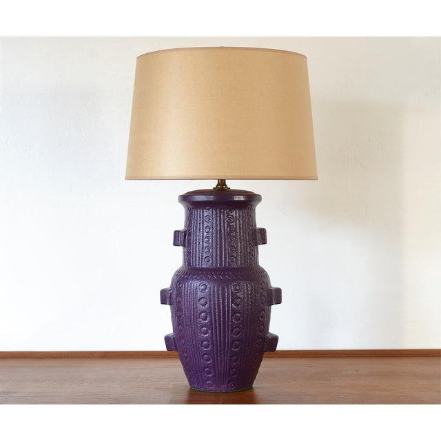 Mid Century Modern Purple Pottery Table Lamp For Sale - Image 13 of 13