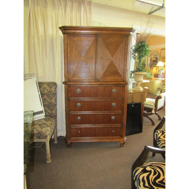 Drexel Furniture Split Bamboo Entertainment Hutch For Sale - Image 9 of 9