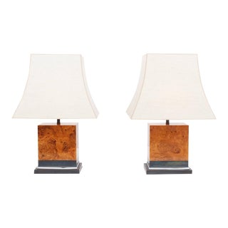 Pair of Burl Lamps by Jean Claude Mahey For Sale