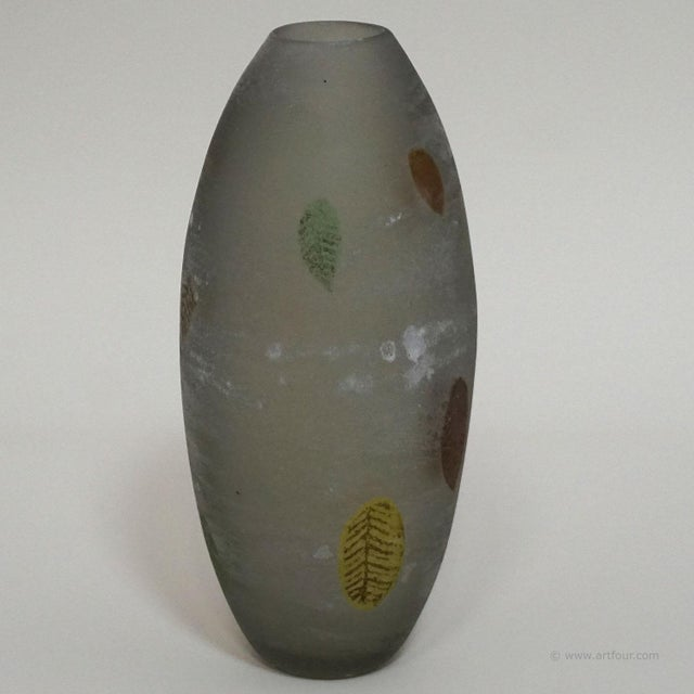1960s A Gino Cenedese 'a Scavo' Glass Vase With Fall Leaves For Sale - Image 5 of 13