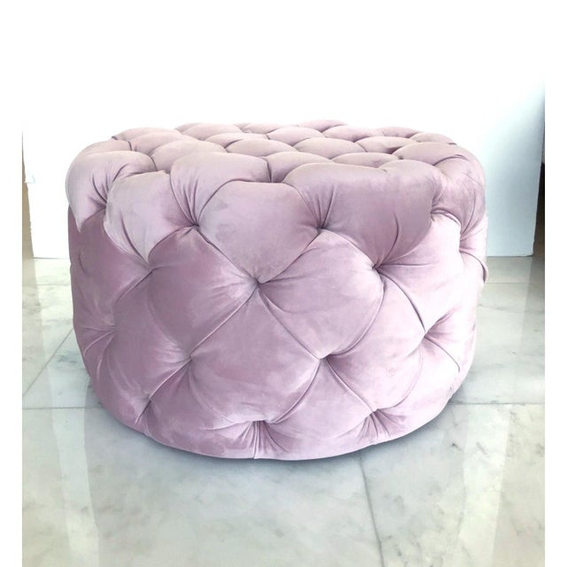 Chic Hollywood Regency Tufted Ottoman in Blush Velvet Pink For Sale - Image 11 of 12