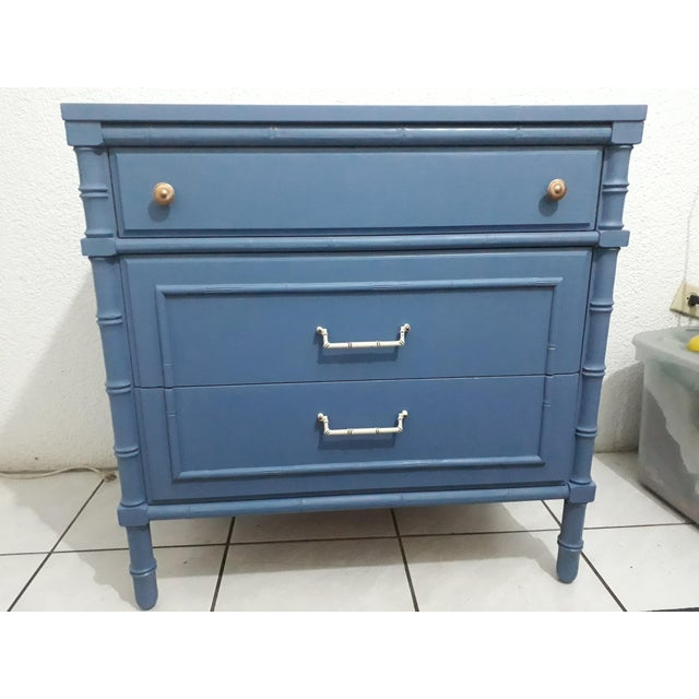 1970s Hollywood Regency Faux Bamboo Painted Chest For Sale - Image 9 of 9