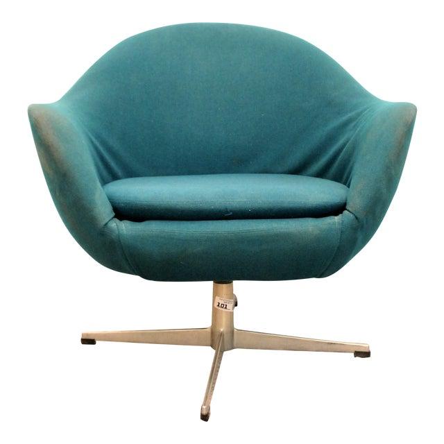 Danish Mid-Century Modern Overman Style Swivel Chrome Base Pod Chair For Sale