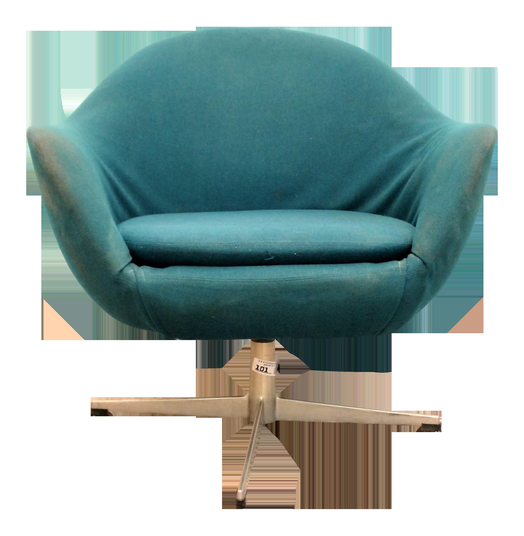 Danish Mid Century Modern Overman Style Swivel Chrome Base Pod Chair