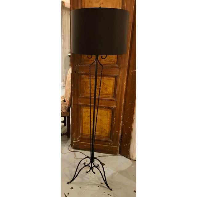 French 1920's Wrought Iron Floor Lamp For Sale - Image 6 of 8