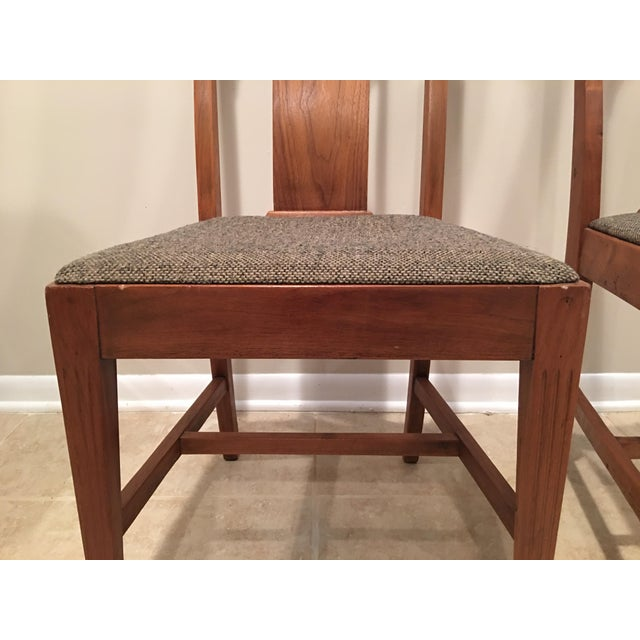 Canvas Mission Arts & Crafts Craftsman Wood Chairs With Canvas Seats - Set of 2 For Sale - Image 7 of 11