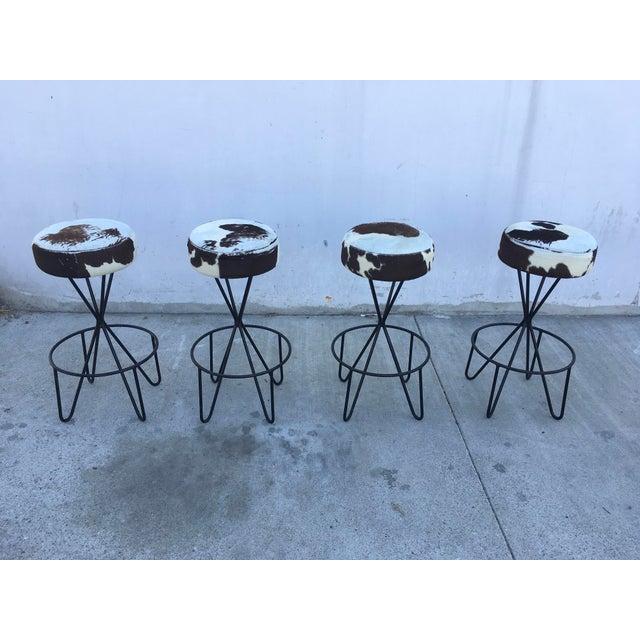 1950s Vintage Paul Tuttle Iron Bar Stools - Set of 4 For Sale - Image 13 of 13
