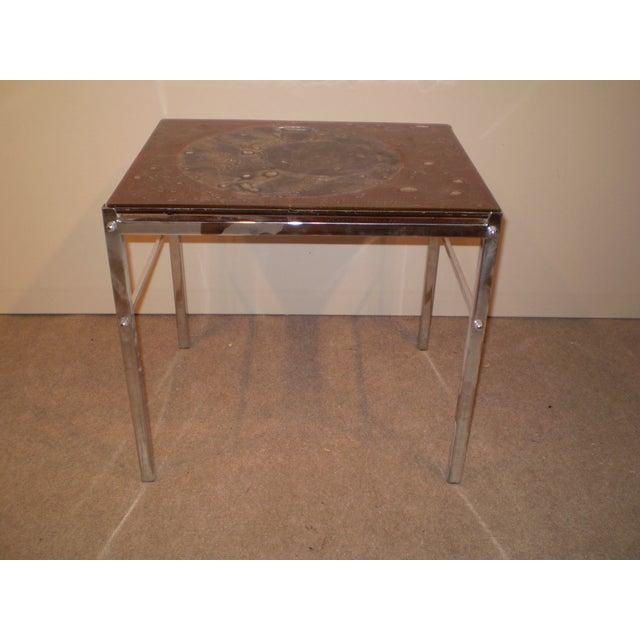 Art Glass & Chrome Side Table - Image 2 of 3