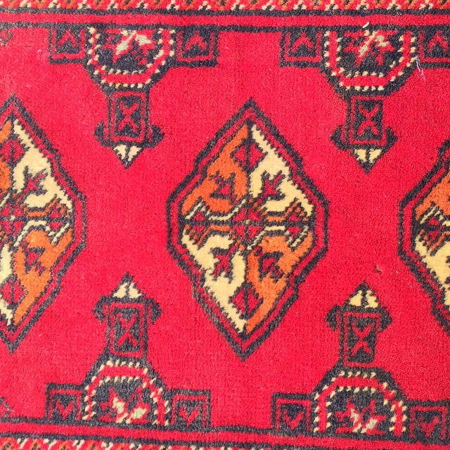 "Vintage Turkaman Red Persian Rug - 2'2"" x 2'9"" - Image 6 of 7"
