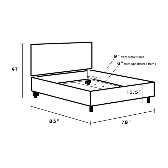 Not Yet Made - Made To Order King Tailored Platform Bed in Midnight Lellani For Sale - Image 5 of 6