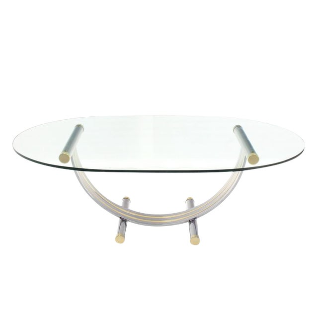 WorldClass Large Oval Glass Brass Chrome Dining Conference Table - Oval glass conference table