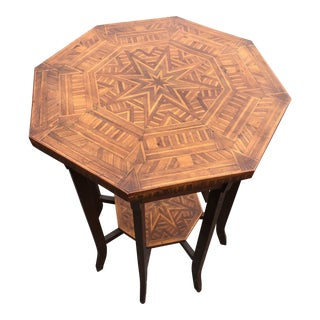 Antique Octagonal Side End Table With Inlaid Starburst Design For Sale