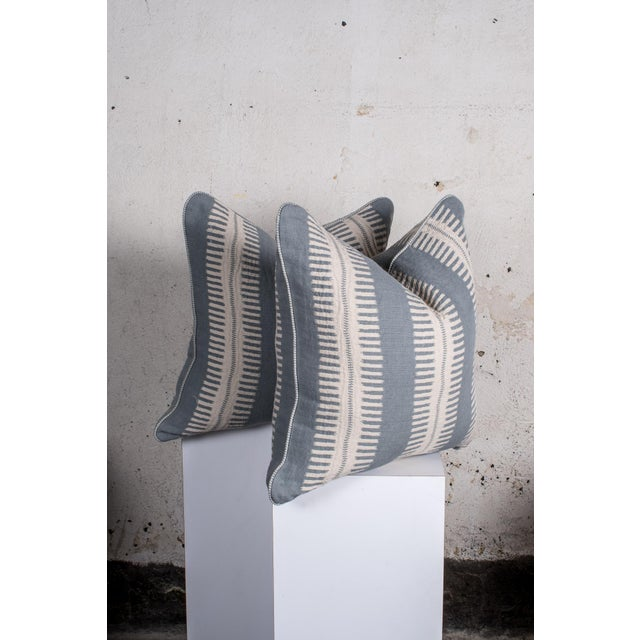 - Custom pair of designer pillows 22 x 22 in. - Blue and white stripes with boho feel -Finished with striped contrast...