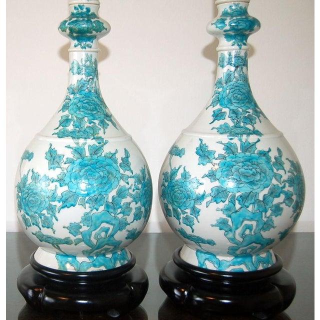 Marbro Italian Porcelain Table Lamps Aqua For Sale In Little Rock - Image 6 of 9