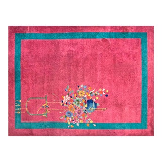 """1920s Chinese Art Deco Rug - 8'9""""x11'6"""" For Sale"""