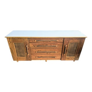 Boho Chic Bamboo Ficks Reed-Style Dresser Credenza For Sale