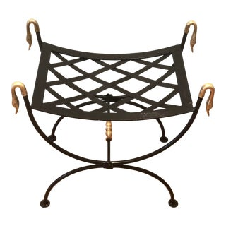 Vintage Wrought Iron & Brass Classical Swan French Regency Style Curule Bench For Sale