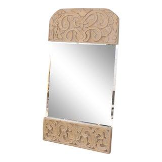 Boho Chic Wood Craved Mirror W/ Carved Leaves For Sale