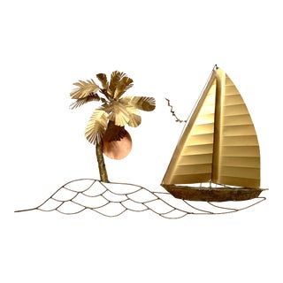 Mid Century Brass and Copper Beach Theme Wall Sculpture by Langshaw For Sale