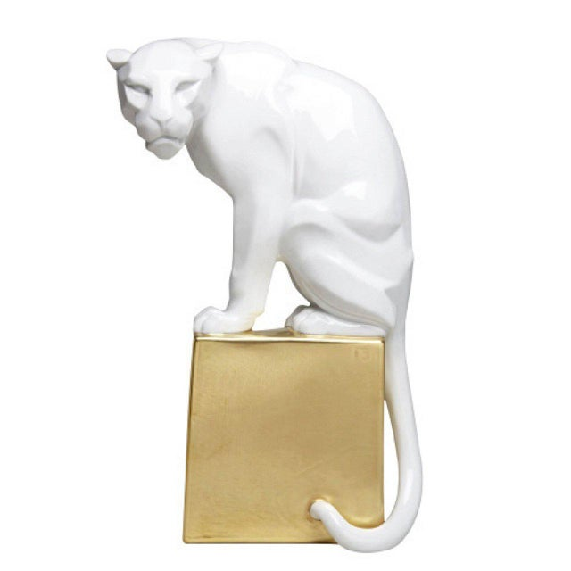 Augarten White Panther With Gold Base by Franz Barwig For Sale - Image 4 of 4