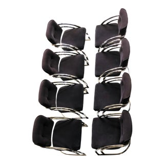 1970s Milo Baughman Style Cantilever Chrome Dining Armchairs - Set of 8