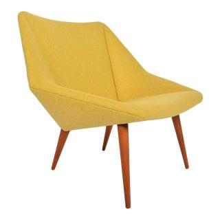 Nanna Ditzel Model 93 Lowback Tux Lounge Chair in Goldenrod For Sale