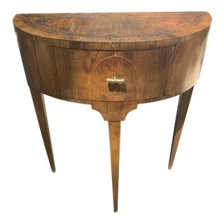 19th Century Italian Neoclassical Walnut Demi Lune Side Table For Sale