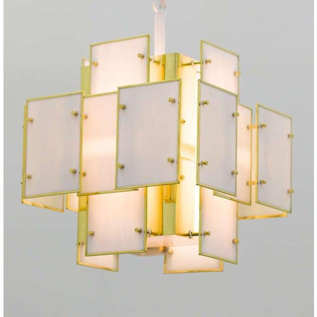 Geometric Milk Glass Panel Chandelier For Sale - Image 4 of 8