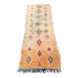 1970s Orange Pink Moroccan Vintage Rug-4′1″ × 9′10″ For Sale