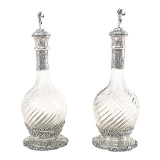 Mid 19th Century German Silver Mounted / Cut Glass Claret Jugs - a Pair For Sale