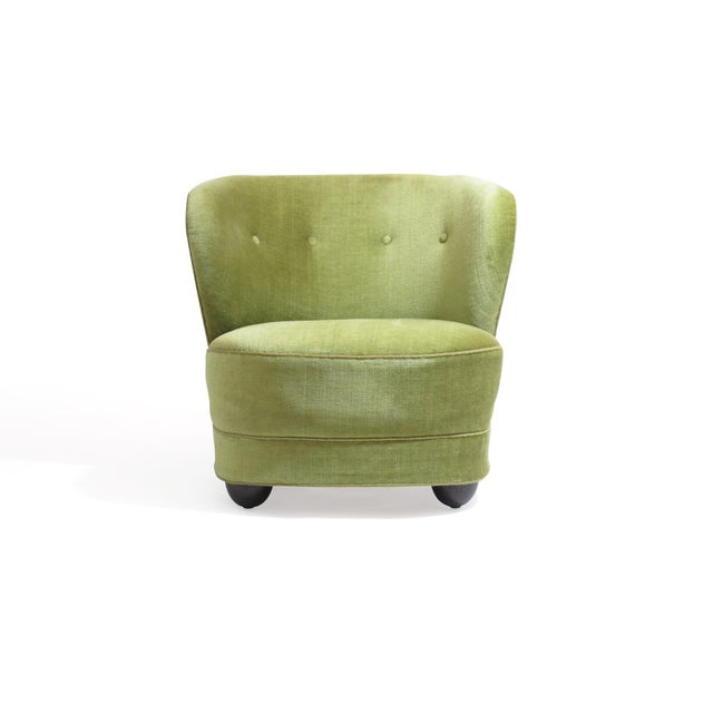 1930s 1930s Danish Slipper Chair in Original Green Mohair For Sale - Image 5 of 11