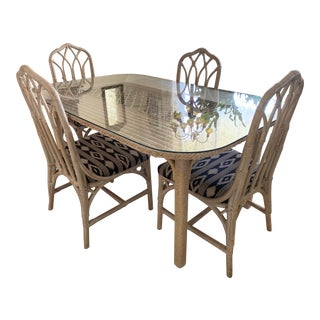 Vintage Boho Chic Whitewashed Rattan Dining Room Set - 5 Pieces For Sale