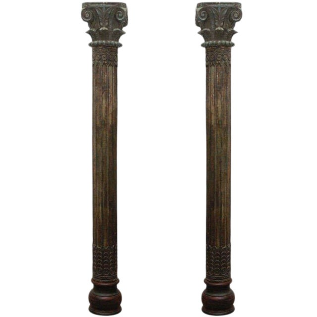 Pair of Carved Wooden Anglo Indian Pillar Columns For Sale