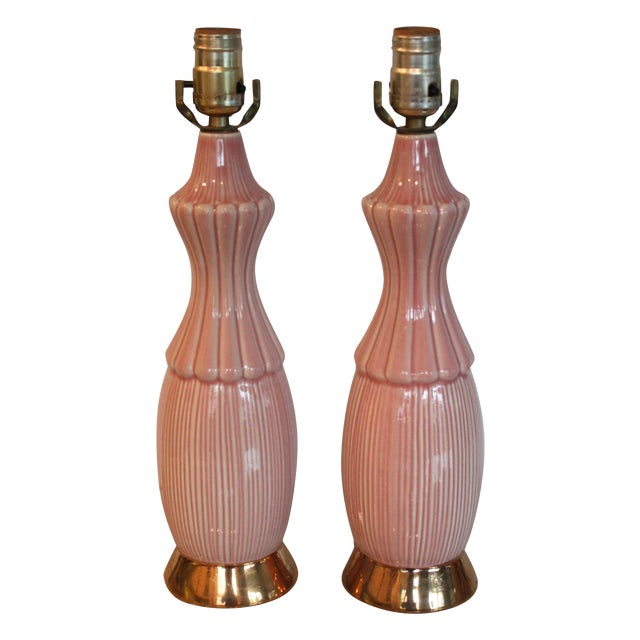 Mid-Century Pink Ceramic Lamps - A Pair - Image 1 of 4