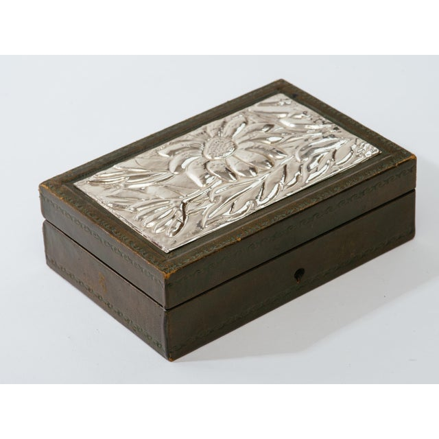 Italian Leather and Silver Repousse Jewelery Box For Sale - Image 4 of 12