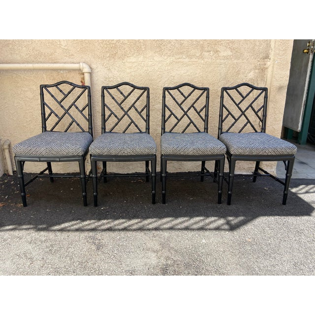 Black Set of Four Faux Bamboo Chinoiserie Chairs For Sale - Image 8 of 8