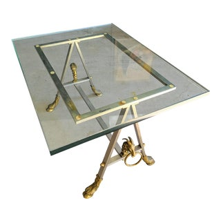 Maison Jansen Style Side Table With Brass Rams For Sale