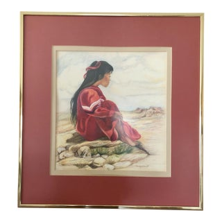 "1980s Nancy Smith ""Southwest Dreams"" Colored Pencil Portrait Drawing For Sale"