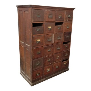 20th Century French Country 24-Drawer Apothecary File Cabinet For Sale