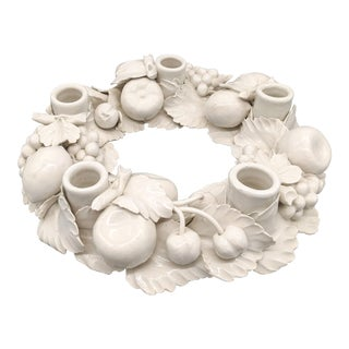 1970s Italian White Ceramic Fruit Round Candelabra Centerpiece For Sale