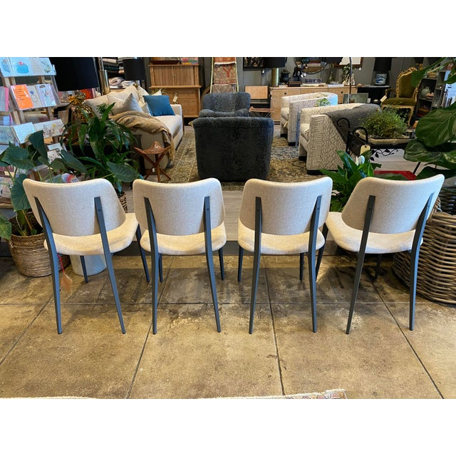 Midj Dining Chairs in Graphite with Fenix Wool in Beige. Custom made chairs from Italy. A perfect contemporary look! Come...
