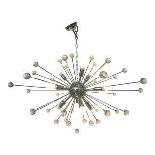 Chrome and Clear Murano Chandelier with Chrome Base For Sale