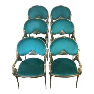 Hollywood Regency Teal & Gold Chairs - Set of 6