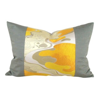 Autumn River Landscape Japanese Obi Pillow Cover For Sale